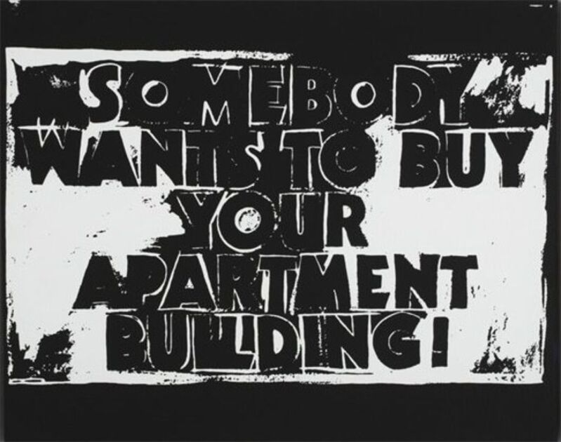 Andy Warhol, 'Somebody Wants to Buy your Apartment Building! (Negative)', 1985, Print, Silkscreen inks on synthetic polymer paint on canvas., Gallery Red