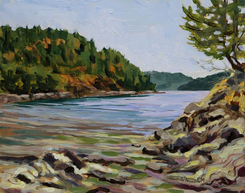 Terrill Welch, 'August Midday at Piggott Bay', 2021, Painting, Acrylic on gessobord, Terrill Welch Gallery