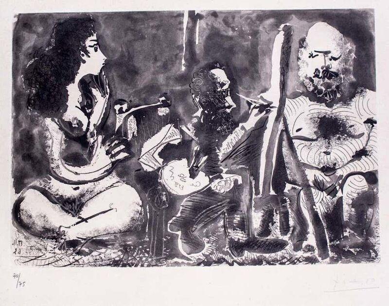 Pablo Picasso, 'Peintre au Travail avec Modèle barbu et une Spectatrice en Tailleur', 1963, Print, Aquatint and Etching, Wallector