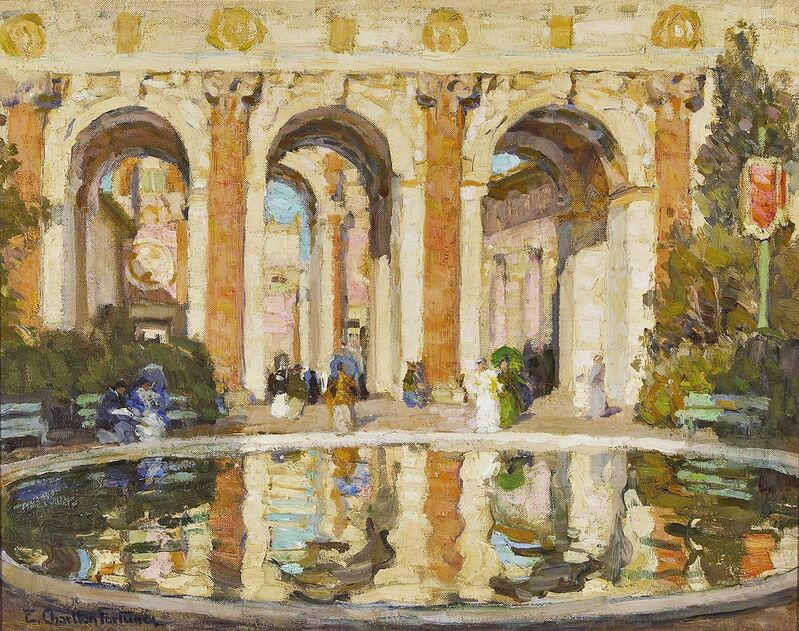 E. Charlton Fortune, 'The Pool (The Court of the Four Seasons)', 1915, Painting, Oil on canvas, de Young Museum