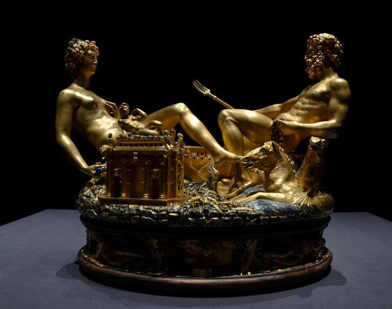 Benvenuto Cellini, 'Saltcellar of King Francis I of France', 1540-1543, Sculpture, Gold and enamel, Art History 101
