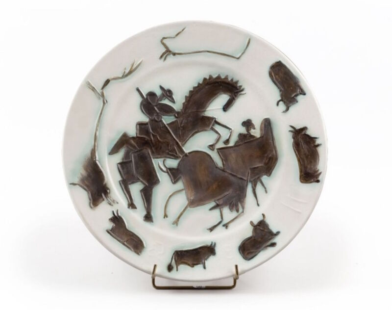 Pablo Picasso, 'Corrida', 11, Sculpture, Round dish of earthenware white, decoration with oxidized paraffin, white enamel bath and green brown, BAILLY GALLERY