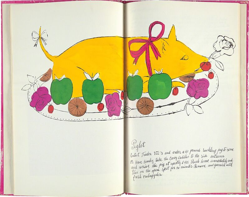 Andy Warhol, 'Wild Raspberries', 1959, Print, The complete set of 18 offset lithographs, five with hand-coloring, one is a double plate, on laid paper, the full sheets, bound (as issued) in the original pink hand-colored paper-covered cardboard cover, recipes by Suzie Frankfurt, with original fuchsia tissue overlays, inscribed 'To Tom andy Warhols Mother' in black paint on the cover., Phillips