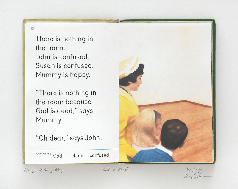 """Miriam Elia, 'We Go to the Gallery. God is Dead.', 2014, Print, One leaf from the book """"We Go to the Gallery"""", stuck onto an old Ladybird Book, Peter Harrington Gallery"""