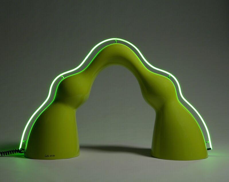 "Wendell Castle, '""Benny"" floor lamp in lime green auto body paint on gel-coated fiberglass-reinforced plastic with neon spine', 2009, Design/Decorative Art, Fiberglass, Jeff Lincoln Art+Design"