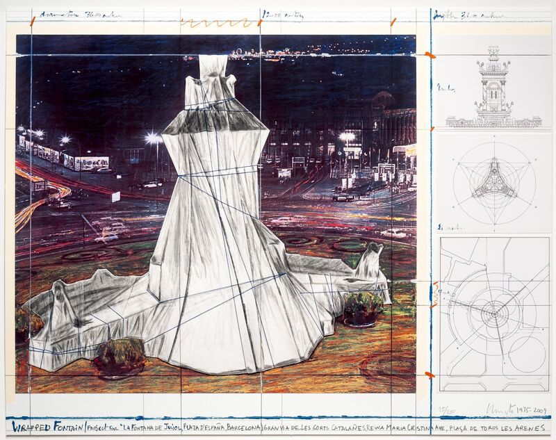 Christo, 'Wrapped Fountain', 2009, Print, Lithograph with collage, Leslie Sacks Gallery