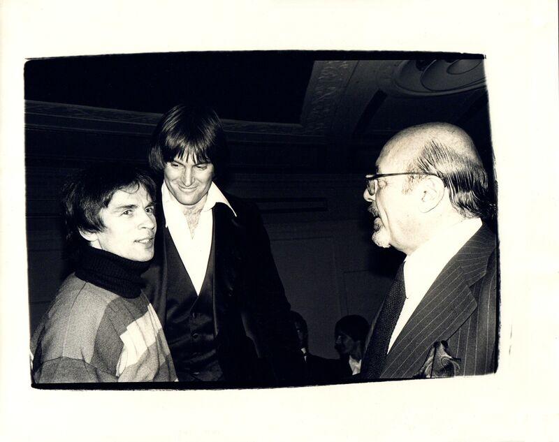 Andy Warhol, 'Andy Warhol, Photograph of Rudolf Nureyev, Bruce Jenner, and Ahmet Ertegen circa 1982', ca. 1982, Photography, Silver gelatin print, Hedges Projects