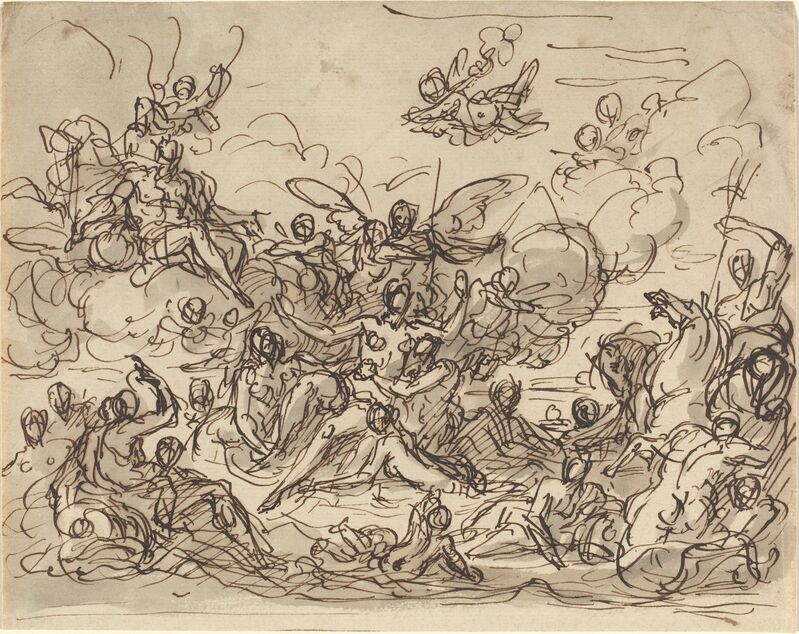 Sir James Thornhill, 'Birth of Venus', ca. 1710, Drawing, Collage or other Work on Paper, Pen and brown ink with gray wash on laid paper, National Gallery of Art, Washington, D.C.