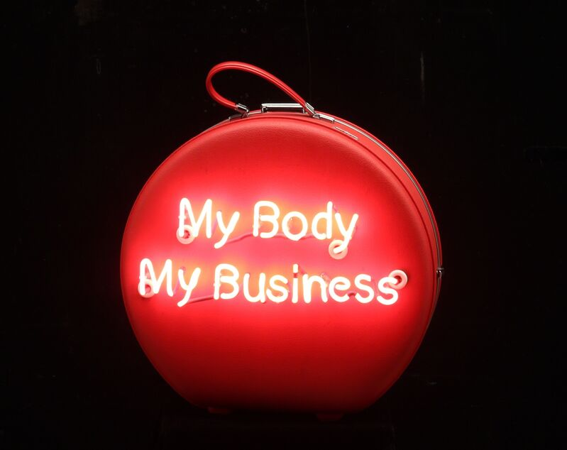 Michele Pred, 'My Body My Business (American Tourister)', 2014, Sculpture, Neon on Vintage Case, Nancy Hoffman Gallery