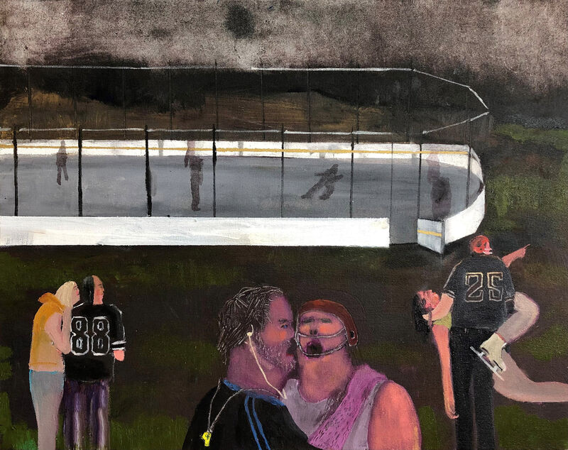 Grace Metzler, 'For Dad it's more than just a game', 2021, Painting, Oil and Acrylic on Canvas on Board, Yossi Milo Gallery