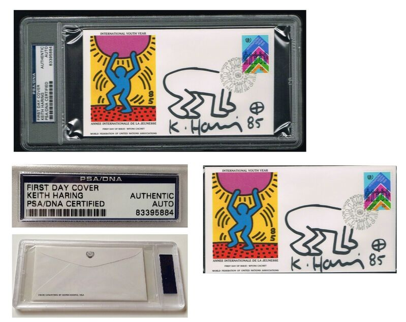 """Keith Haring, '""""International Youth Day-United Nations"""" WFUNA, 1985, SIGNED, United Nations Envelope w/ BABY DRAWING, First Day of Issue World Federation of United Nations Association, Authenticated, UNIQUE', 1985, Drawing, Collage or other Work on Paper, Blk. Sharpie on paper, VINCE fine arts/ephemera"""