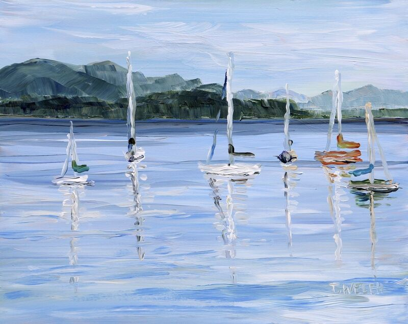 Terrill Welch, 'Anchored Sailboats Village Bay', 2020, Painting, Acrylic on gessobord, Terrill Welch Gallery