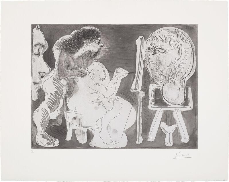 Pablo Picasso, 'Peintre avec une sculpture sur une sellette, une femme nue et un spectateur (Painter with a Sculpture on a Stand, a Nude Woman and a Spectator)', 1963, Print, Etching and aquatint, on BFK Rives paper, with full margins., Phillips