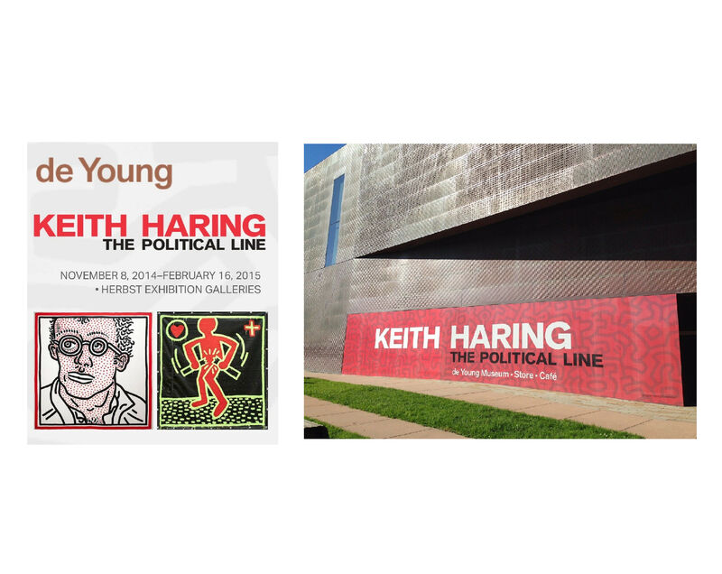 """Keith Haring, '""""The Political Line"""", Exhibition Banner (unused), 2.5 x 6 ft. The de Young Museum of San Francisco, Double-Sided. ', 2015, Ephemera or Merchandise, Vinyl, VINCE fine arts/ephemera"""