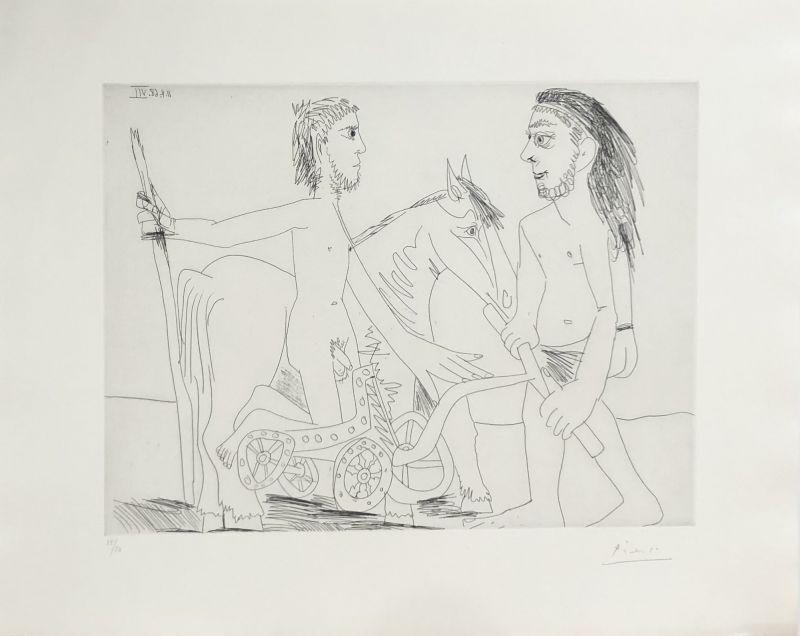 """Pablo Picasso, 'Suite """"Les 347"""", Télévision : combat de chars à l'antique ', 1968, Print, Etching on paper, Le Coin des Arts"""