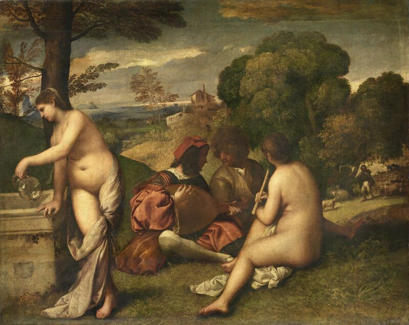 Titian, 'Concert in the Open Air', ca. 1510, Painting, Oil on canvas, Musée du Louvre