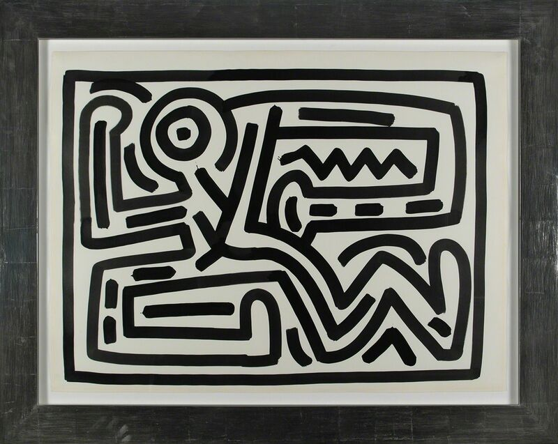 Keith Haring, 'Untitled, 1988 (Growing #6, dancing man)', 1988, Painting, Sumi ink on paper, signed and dated 'MAY 14 1988' on the reverse, Martin Lawrence Galleries