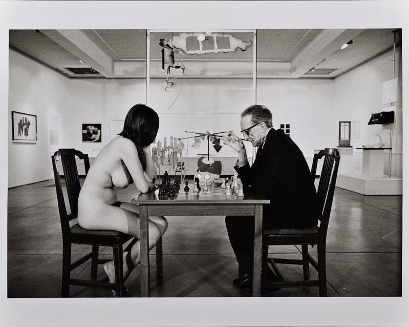 Julian Wasser, 'Duchamp Playing Chess with a Nude (Eve Babitz), Duchamp Retrospective, Pasadena Art Museum', 1963, Photography, Later gelatin silver print, Robert Berman Gallery