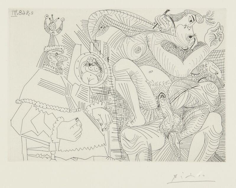 Pablo Picasso, 'Raphaël et la Fornarina. XII: Le Pape est bouche bée dans son fauteuil (B. 1787; Ba. 1804)', 1968, Print, Etching, Sotheby's