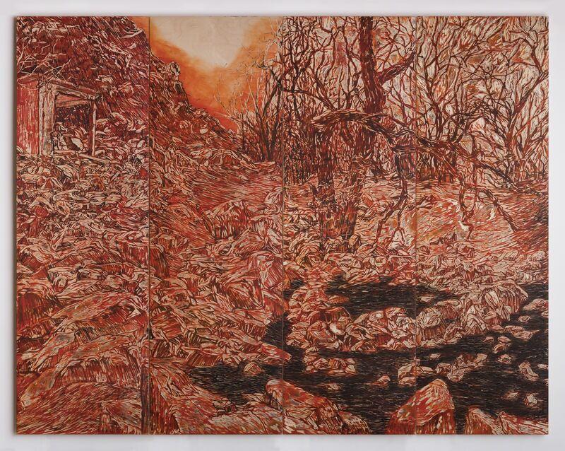 Orit Hofshi, 'Cirque', 2016, Mixed Media, Carved Birch wood panels, Ink, Oil sticks, Zemack Contemporary Art