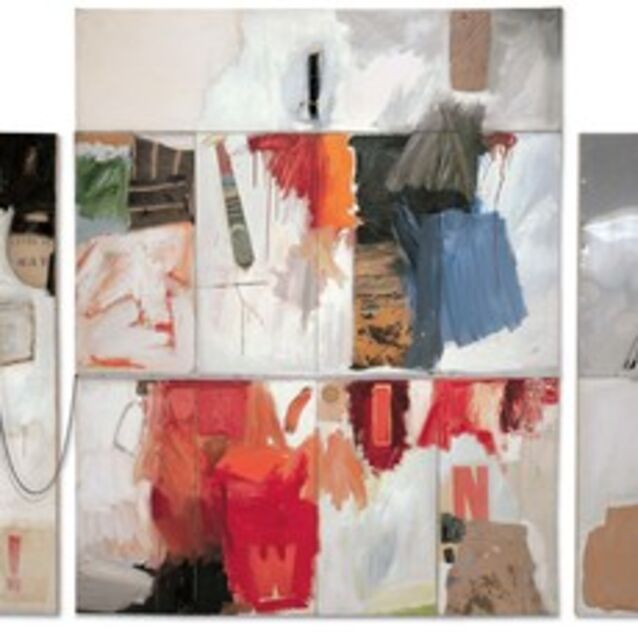 Robert Rauschenberg, 'Trophy II (for Teeny and Marcel Duchamp)', 1960, Combine: oil, charcoal, paper, fabric, printed paper, printed reproductions, necktie, sheet metal, and metal spring on seven canvases with chain, spoon, and water-filled plastic drinking glass on wood, Robert Rauschenberg Foundation