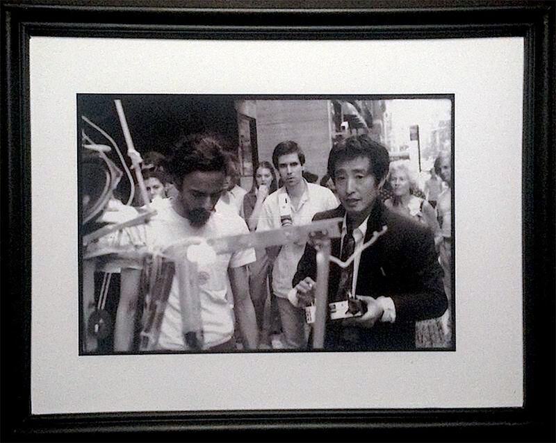 Paul Garrin, 'Nam June Paik, Elliot Kaplan & Shridhar Baptat with Robot K456, Madison Ave', 1980, Photography, Archival pigment print, IFAC Arts