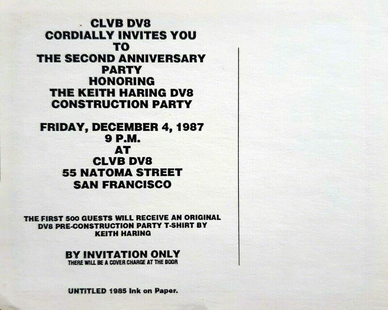 Keith Haring, 'Keith Haring DV8 announcement (Keith Haring San Francisco 1987) ', 1987, Posters, Offset printed invitation, Lot 180