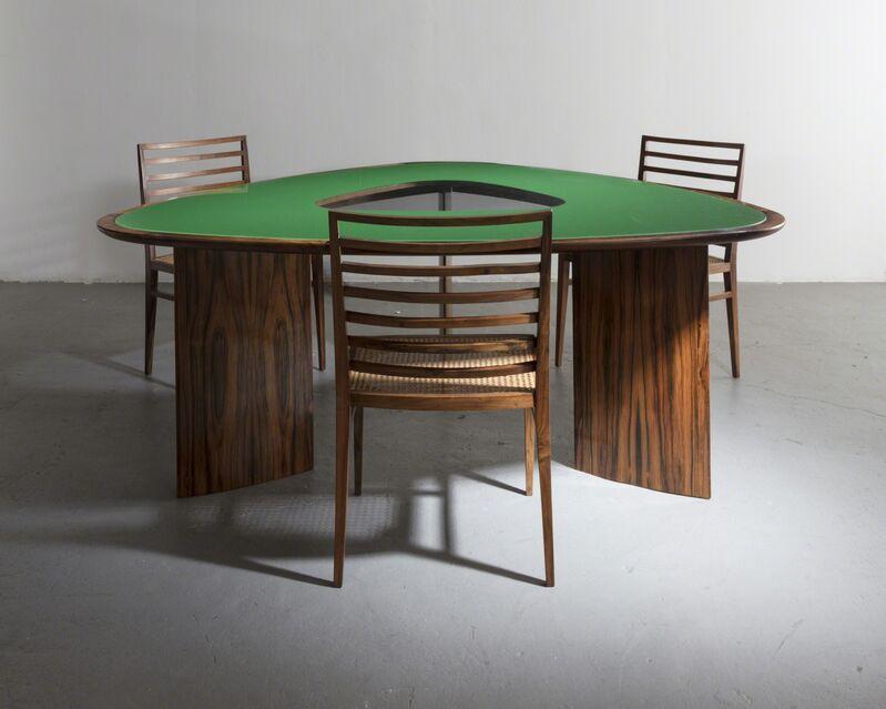 Joaquim Tenreiro, 'Iconic triangular table', 1960, Design/Decorative Art, Jacaranda with underpainted glass, R & Company