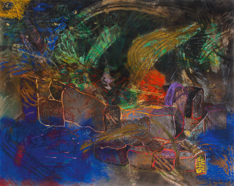 Karel Nel, 'The Place of the Manao Tupapau, Gauguin's Grave, Hiva Oa', 1995, Mixed Media, Pastel and pigment on bonded fibre fabric, Strauss & Co