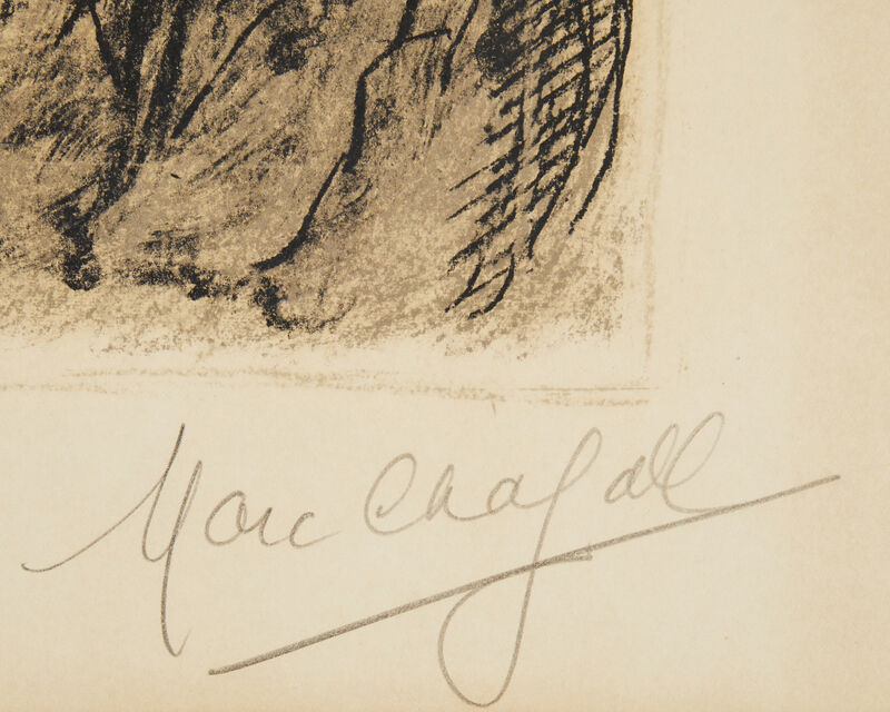 Marc Chagall, 'Le Chevalet Aux Fleurs', 1976, Print, Color lithograph on cream wove paper under Plexiglas, with full margins, John Moran Auctioneers