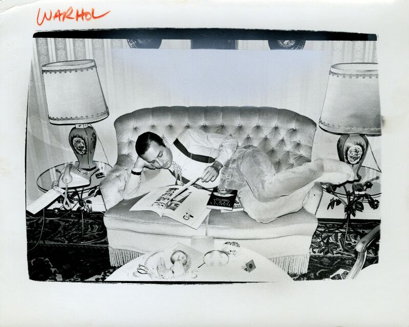 Andy Warhol, 'Andy Warhol, Photograph of Fred Hughes on Sofa, 1986', 1986, Photography, Silver gelatin print, Hedges Projects