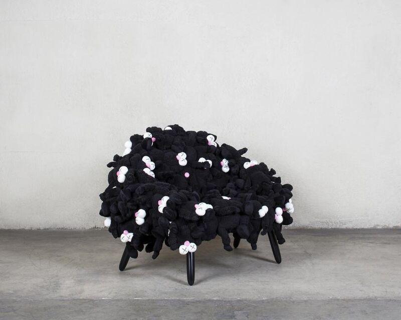 KAWS, 'Campana Black BFF Chair', 2018, Design/Decorative Art, Plush toys, Stainless Steel, Cumaru Wood, Carmichael Gallery