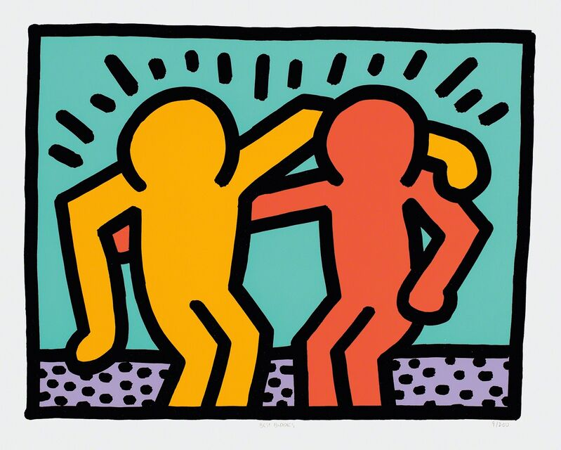 Keith Haring, 'Best Buddies', 1990, Print, Screenprint in colors, on wove paper, with full margins., Phillips