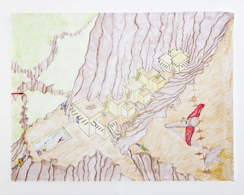 "Lapo Binazzi, '""UFO - 1970 - Villa Sulla Costiera Amalfitana (Pueblo)"" poster ', 2016, Drawing, Collage or other Work on Paper, Colored pencil on paper, R & Company"