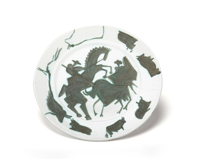 Pablo Picasso, 'Corrida', 1953, Design/Decorative Art, White earthenware charger with black oxide and light green engobe, John Moran Auctioneers