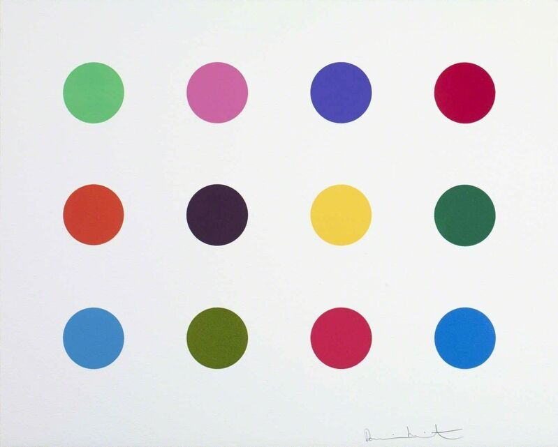 Damien Hirst, 'Perillartine', 2012, Print, A 2-inch spot woodcut printed on 410gsm Somerset White Paper, Avant Gallery