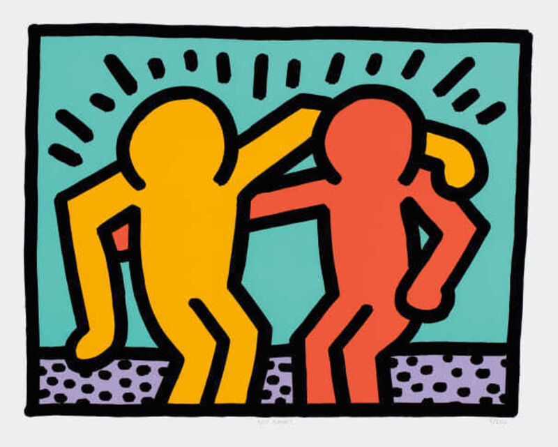 Keith Haring, 'Best Buddies', 1990, Print, Screen print in colours on paper, Hidden