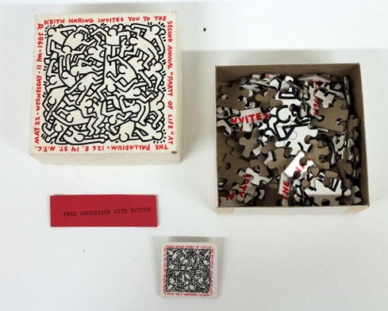 "Keith Haring, '""Party of Life"", Invite, Puzzle/Box Paladium NYC, (COMPLETE SET)', 1985, Print, Ink, Card board, VINCE fine arts/ephemera"