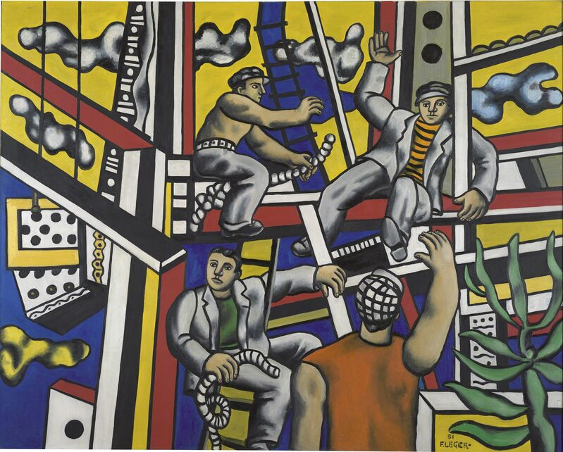 Fernand Léger, 'Builders (builders with aloe)', 1951, Painting, Oil on canvas, Centre for Fine Arts (BOZAR)
