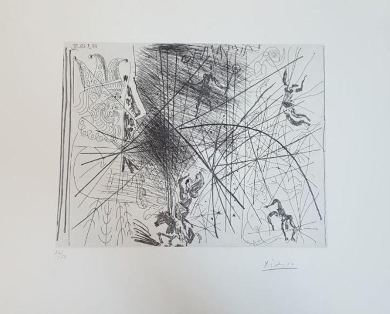 Pablo Picasso, 'Vieux Bouffon Contemplant des Acrobates I', 1968, Print, Etching on Rives paper with full margins, Baterbys