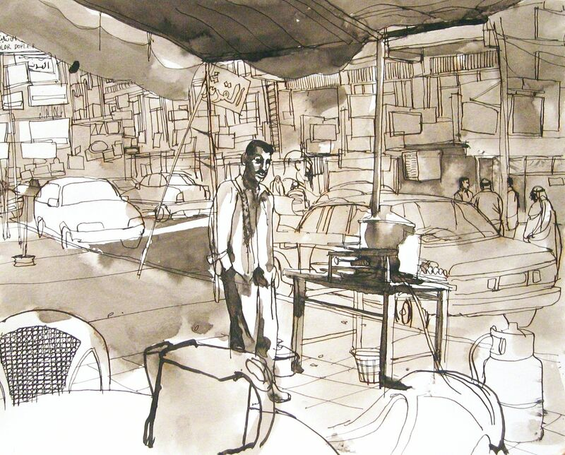 Steve Mumford, '10B15 Man at tea stand, Baghdad, March 2004', 2004, Drawing, Collage or other Work on Paper, Ink and wash on paper, Postmasters Gallery