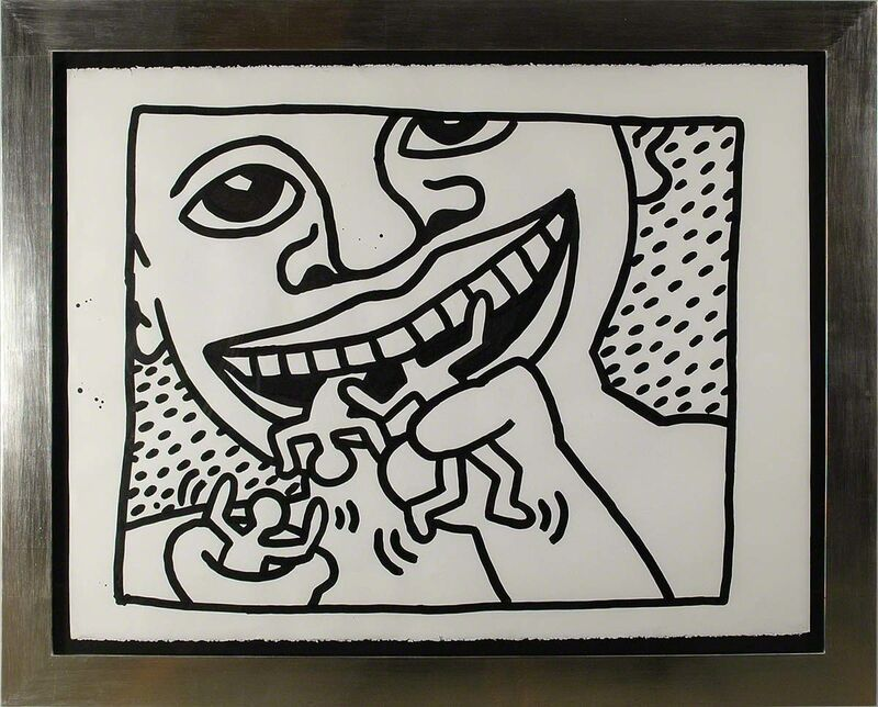 Keith Haring, 'Untitled, 1982 (Cannibal)', 1982, Painting, Sumi ink on paper; signed and dated 'SEPT. 21 - 82 + K.Haring' on verso, Martin Lawrence Galleries