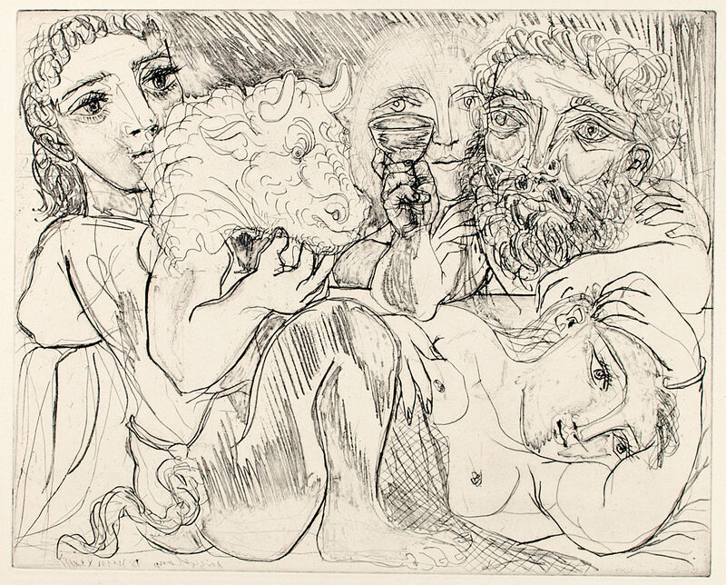 Pablo Picasso, 'MINOTAURE, BUVEUR ET FEMMES (B. 200; G/B 368; S.V. 92)', 1933, Print, Drypoint on Montval laid paper, Marc Rosen Fine Art Ltd