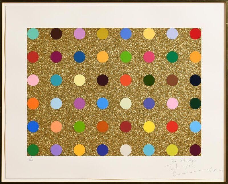 Damien Hirst, 'Gold Glitter Spots', ca. 2010, Print, Screenprint In Colours With Gold Glitter On Wove Paper, Gormleys Fine Art