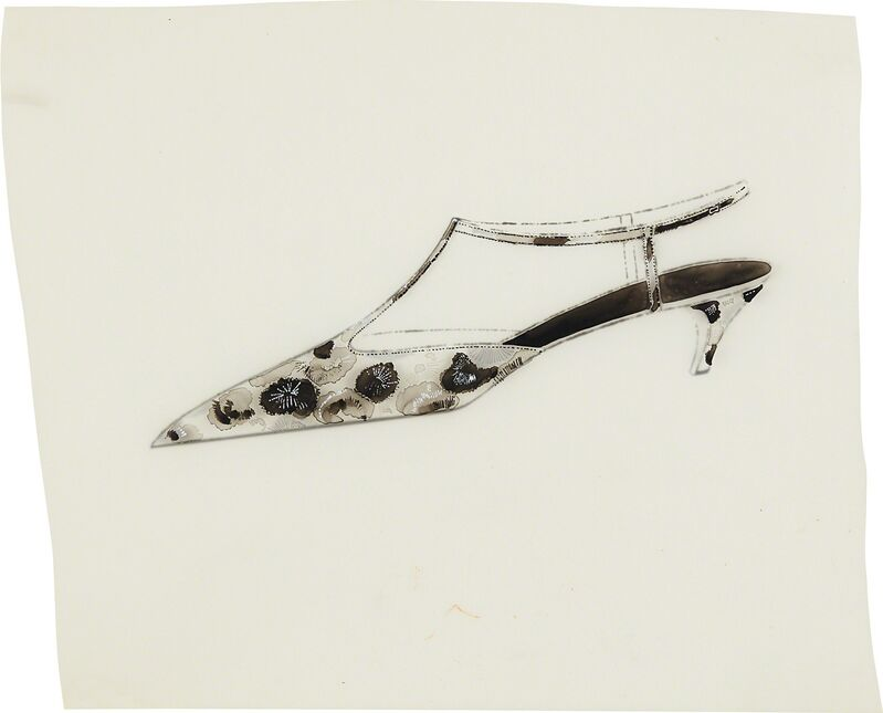 Andy Warhol, 'Shoe (floral)', ca. 1955, Drawing, Collage or other Work on Paper, Ink and collage on paper, Phillips