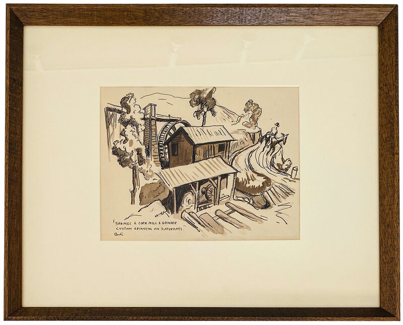 Thomas Hart Benton, 'Saw Mill and Cornmeal Grinder - Custom Grinding on Saturdays', ca. 1930, Drawing, Collage or other Work on Paper, Sepia, wash, ink and pencil on paper, Robert Fontaine Gallery