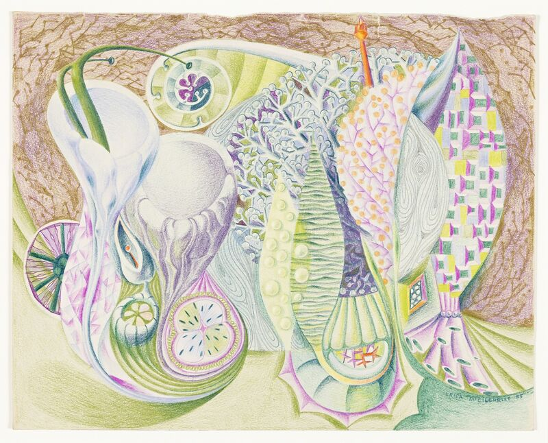 Erica McGilchrist, 'Underwater Parade  ', 1955, Drawing, Collage or other Work on Paper, Coloured pencils and pencil on paper, National Gallery of Victoria