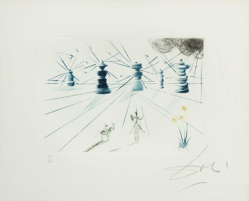 Salvador Dalí, 'Don Quichotte et les moulins à vent', 1969, Print, Color Drypoint Etching, Hindman