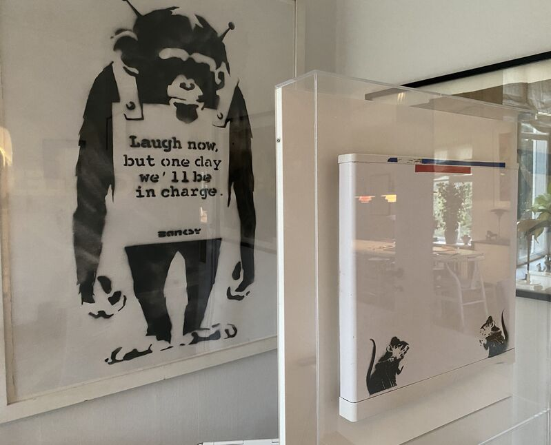"Banksy, '""Bowler Hat Rats"" aka ""Lock Pick Rats""', 2004, Ephemera or Merchandise, Aerosol spray on panel, MultiplesInc Projects"