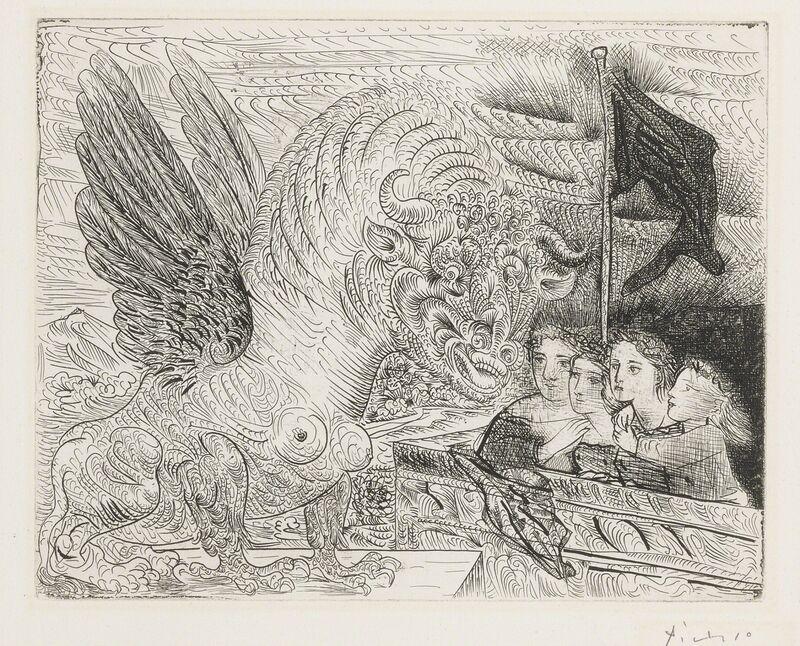 Pablo Picasso, 'Taureau ailé contemplé par quatre enfants (B. 229; Ba. 444)', 1934, Print, Etching, Sotheby's